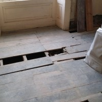 Nunney Court Pine Floorboards beffore renovation