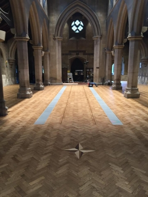 Parquet flooring in Christ Church in Swindon
